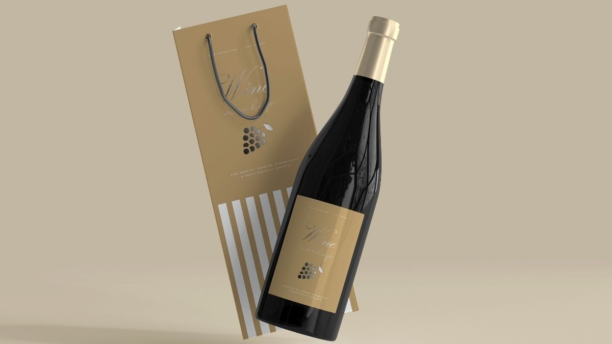 Wine and its bag is seen floating on a light brown background.