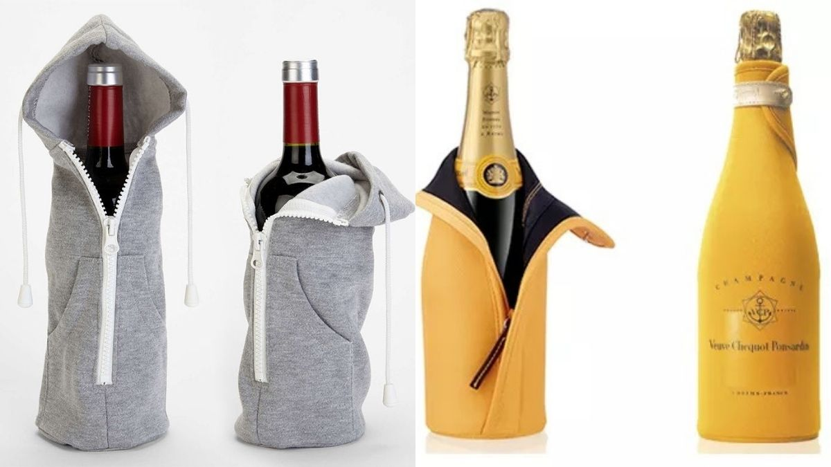 two delicious bottles of wine covered in the bag are placed on a plain and white surface.