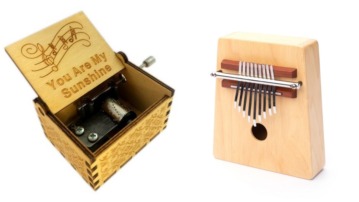 Two pieces of wooden music box are placed on a white background.