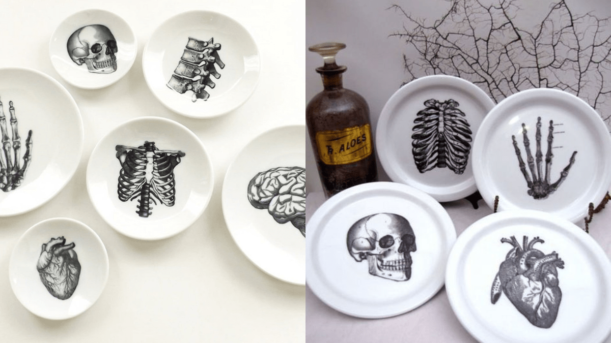 A displayed of plain white dishes with human anatomy drawn on it to give it a spooky look to be displayed on the Halloween dinner table.