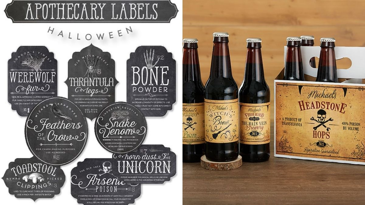 Customized black apothecary labels on the left and on the right beer bottles and a crate with the customized apothecary labels that can be given as a Halloween gift