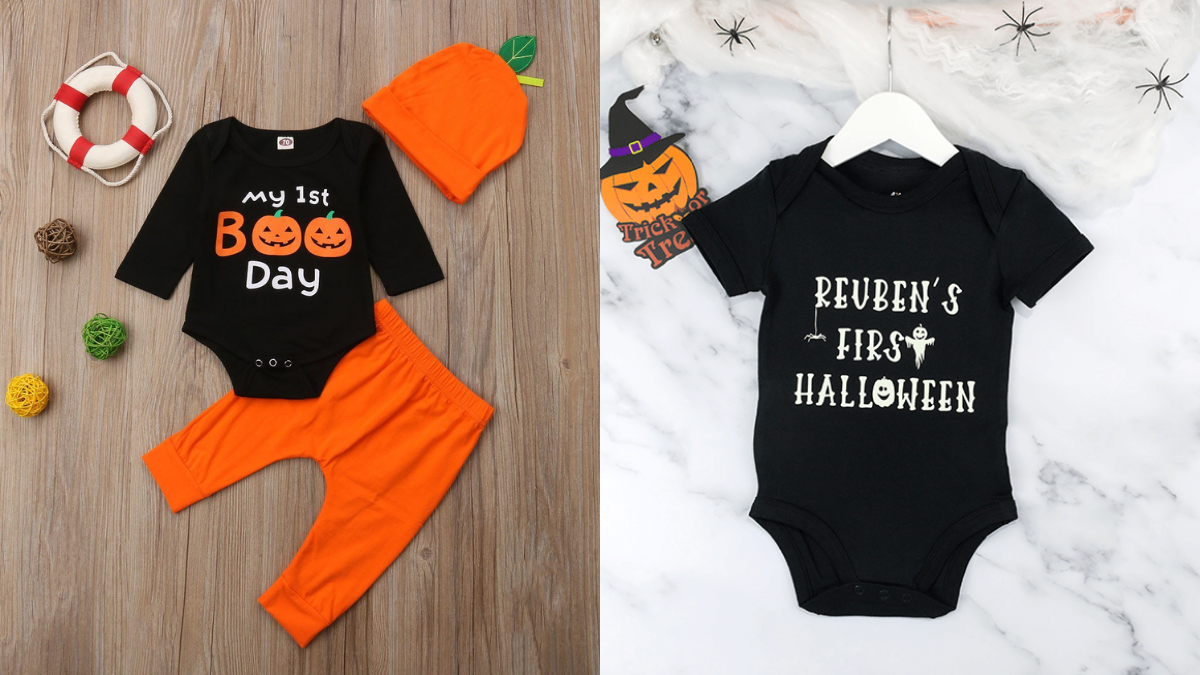 Baby's 1st Halloween clothes. Black onesies and one with an orange pant and an orange beanie.
