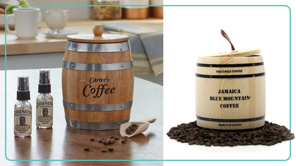 carter's Barrel shaped coffee kit and Jamica blue mountain coffee