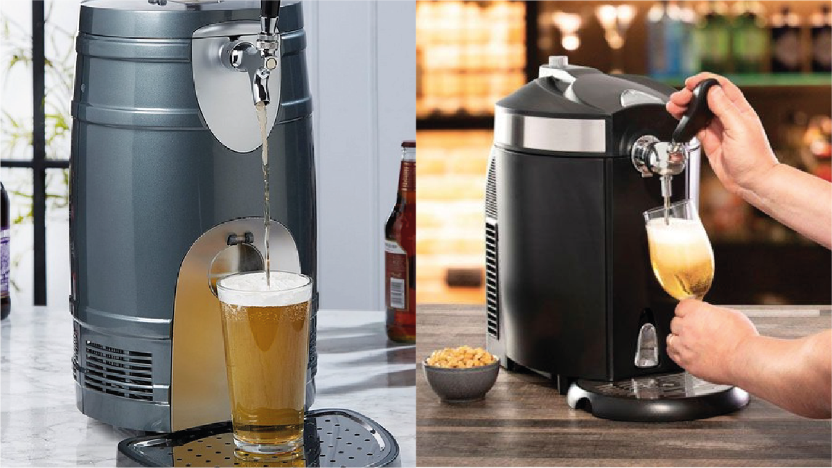 beer getting dispensed with a Beer dispenser