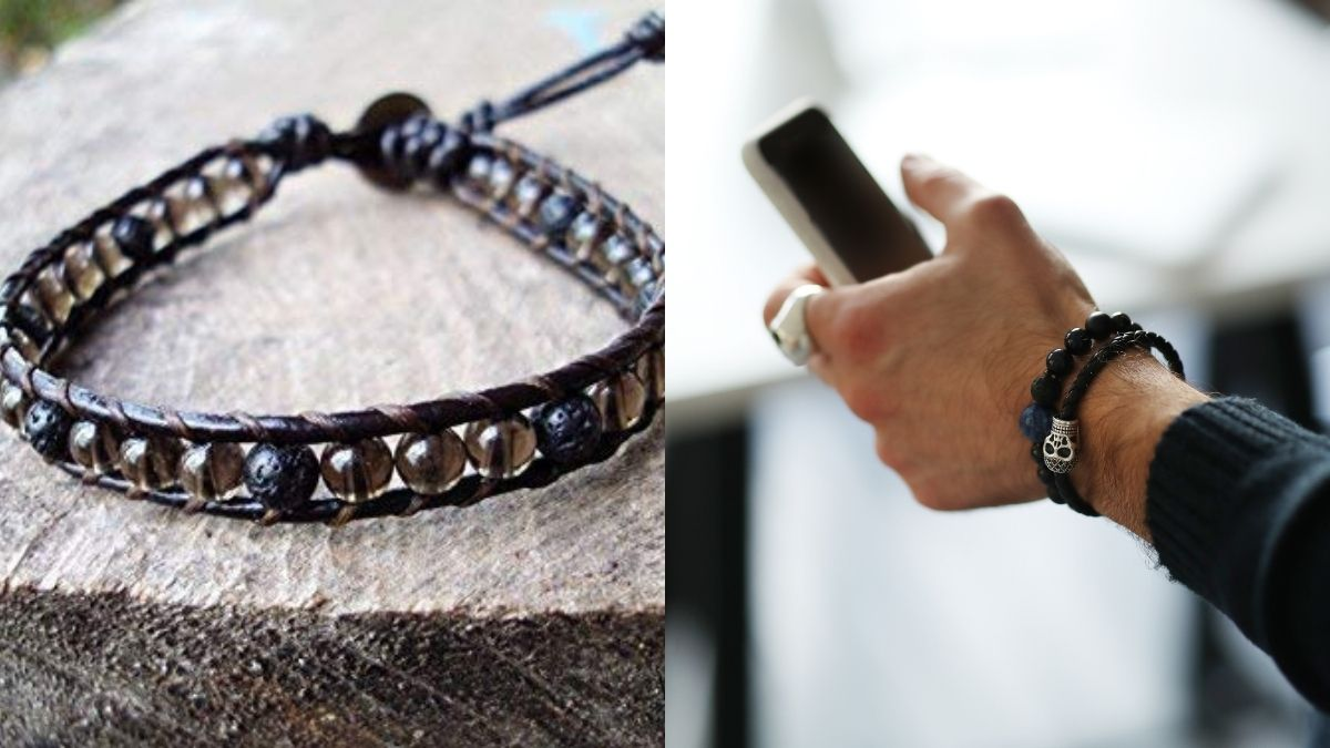 Two amazing handmade bracelets are shown in two different backgrounds.