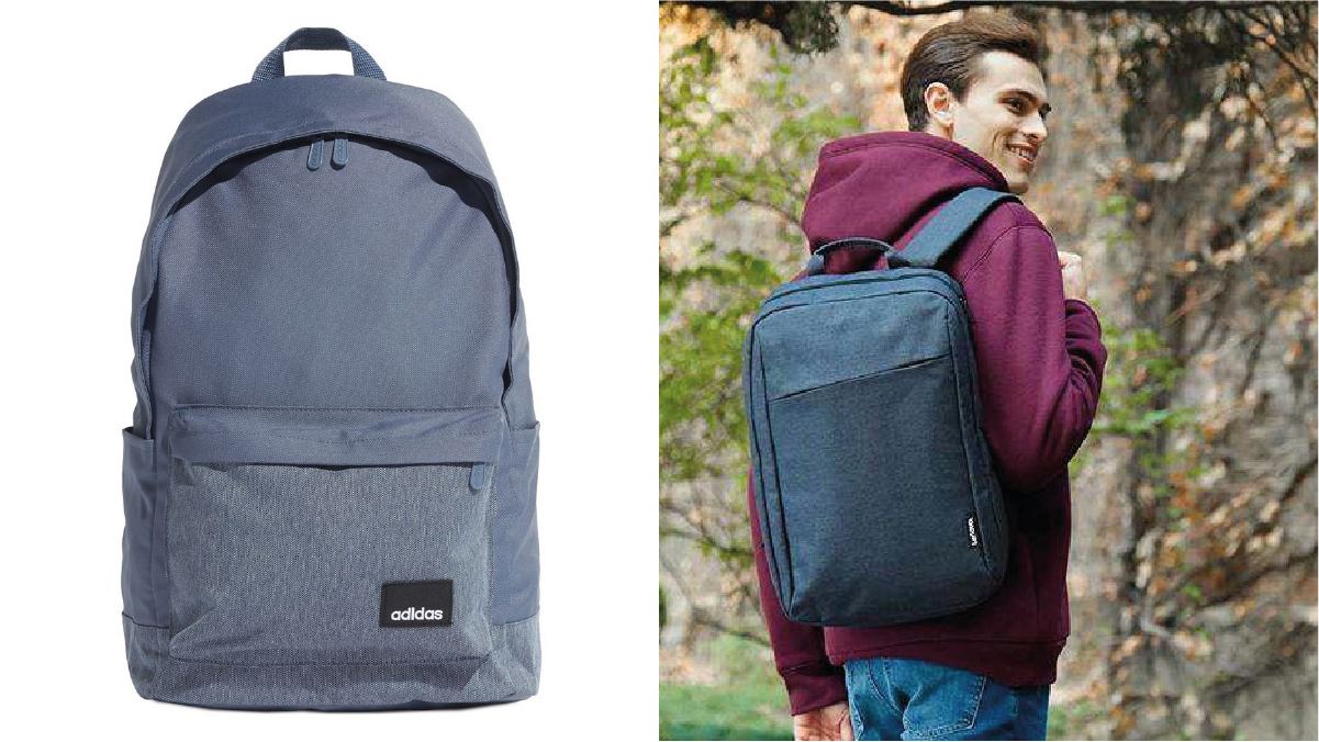 On left: a casual backpack against white background. On right: a guy in maroon hoodie wearing a casual backpack