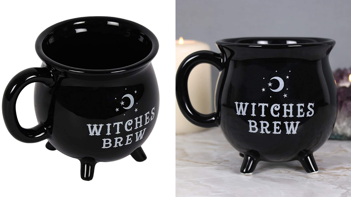 2 black cauldron shaped mugs with the words Witches brew printed on them can be given as Halloween gifts.