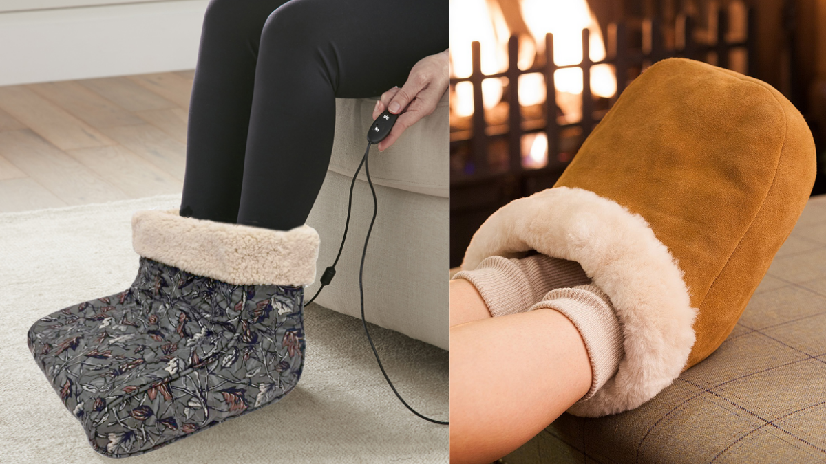 the images shows feet being warmed by feet warmer. this is an excellent christmas gifts ideas for grandpa this winter season.