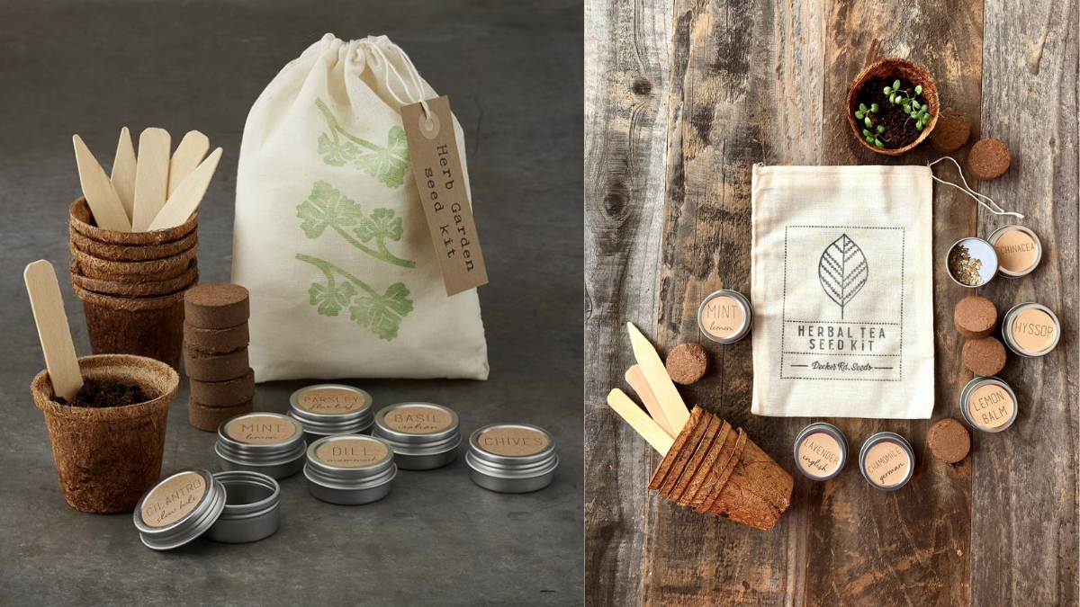 The image shows 2 gardening kits, with different types of seeds, pots to plant and sticks to dig. everything in the kit is eco-friendly, This is a good christmas gift idea for grandpa who loves to garden.