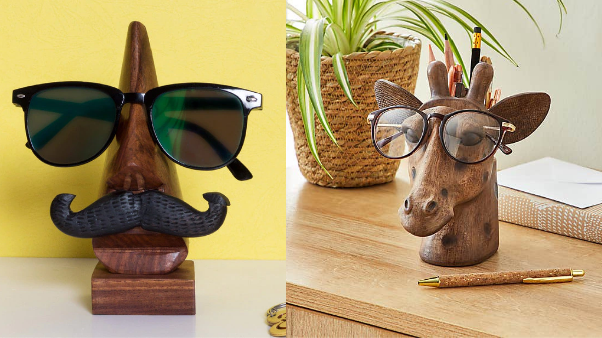 A fancy and useful product; An eye glass holder make out of wood, shaped in a form of a face, mostly in a comical way.