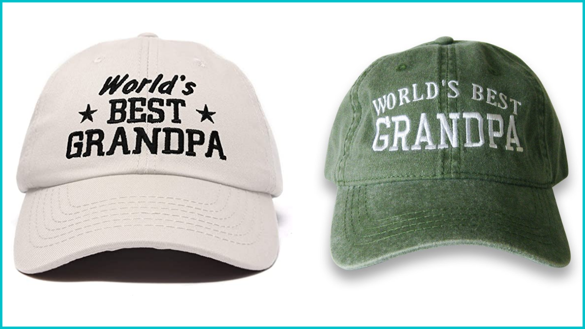 """the image shows two hats (one in white and the other in olive green). Both of the hats are embroidered with the phase """" Worlds BEST Grandpa"""" this is an excellent Christmas gift for grandpa"""