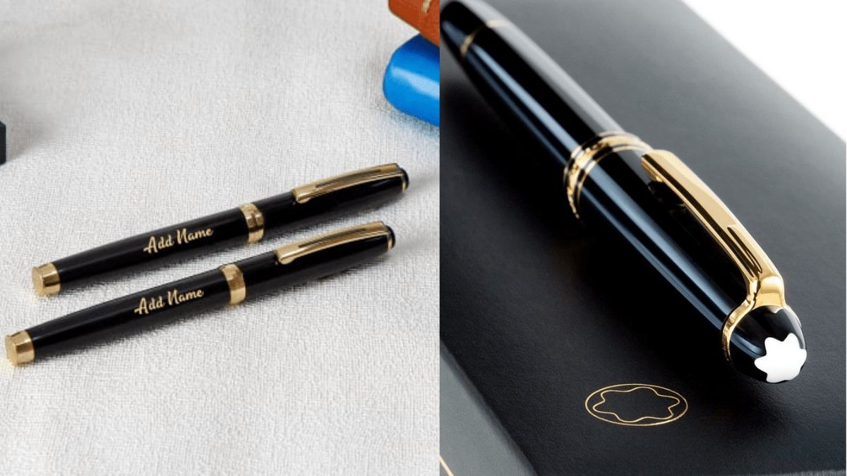 A personalized black pen with golden borders, this classic gift is perfect as a Christmas gift for grandpa