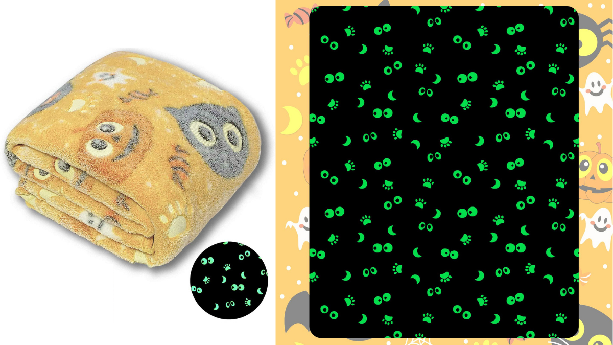 A folded glow in the dark blanket on the left. a night version of the blanket showing the glowing parts of the blanket on the right.