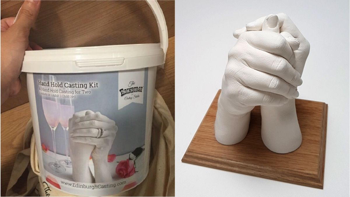 On left: a hand casting kit. On the right: a casted figure of two hands.