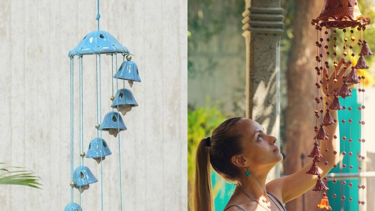 Two wind chimes are shown in two different background. In first image, blue wind chime is on a white background. In second image, a girl is touching the brown wind chime which is above her head.