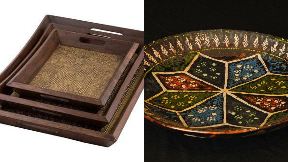 Two handmade trays are placed in different backgrounds. The first one is in rectangular shape, the other one is circular in shape.