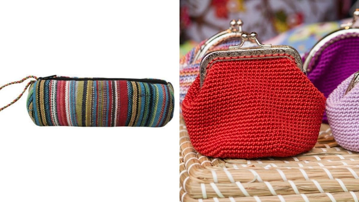 There are two handmade pouches in two different backgrounds. The red pouch is placed on bed whereas the multicolored pouch is on white background.