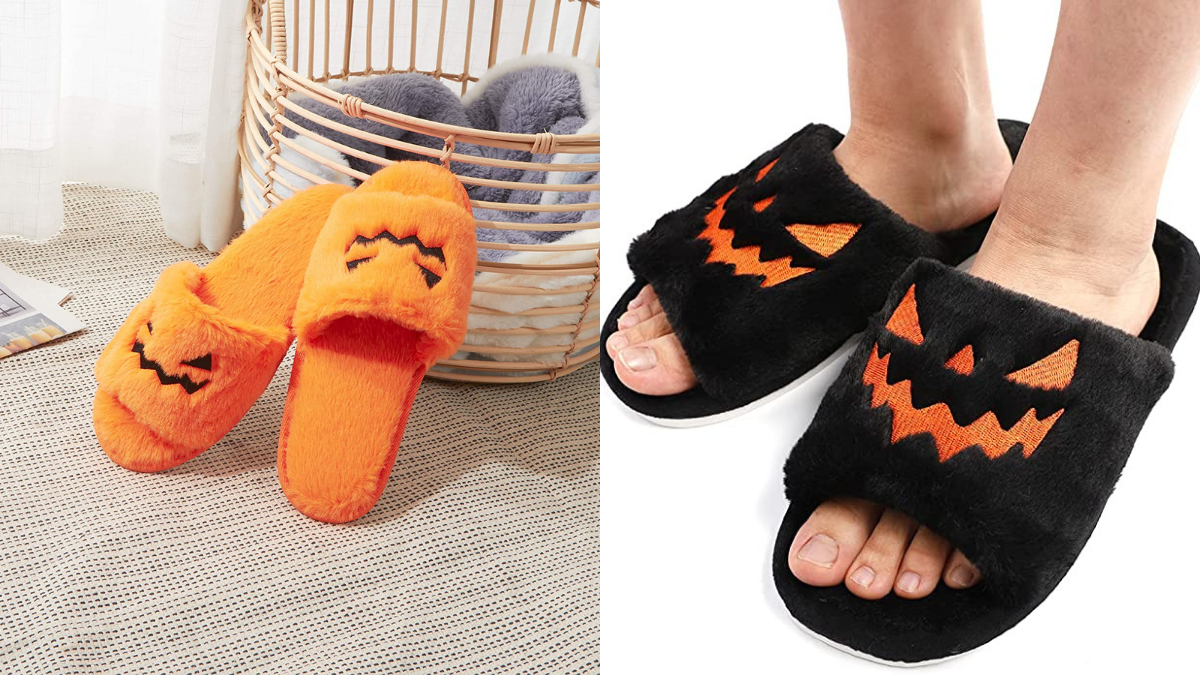 Orange fuzzy Jack-o-Lantern slippers displayed against a laundry basket on the left. A pair of human feet displaying the Jack-o-Lantern themed fuzzy slippers on the right.