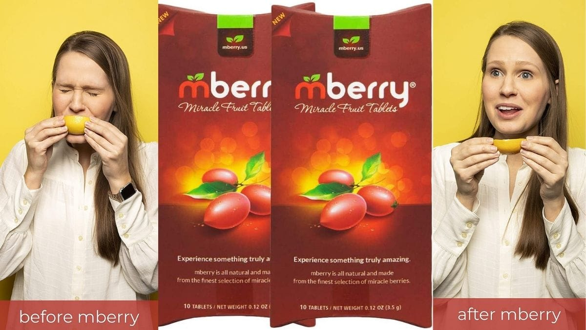 on the left, a woman making disgusted face while eating a lemon. At the cener is the product image of mberry tablets. on the right: the woman enjoying lemon.