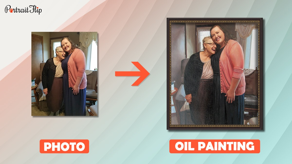A photo of mom and daughter is turned into a handmade oil painting by portraitflip artists
