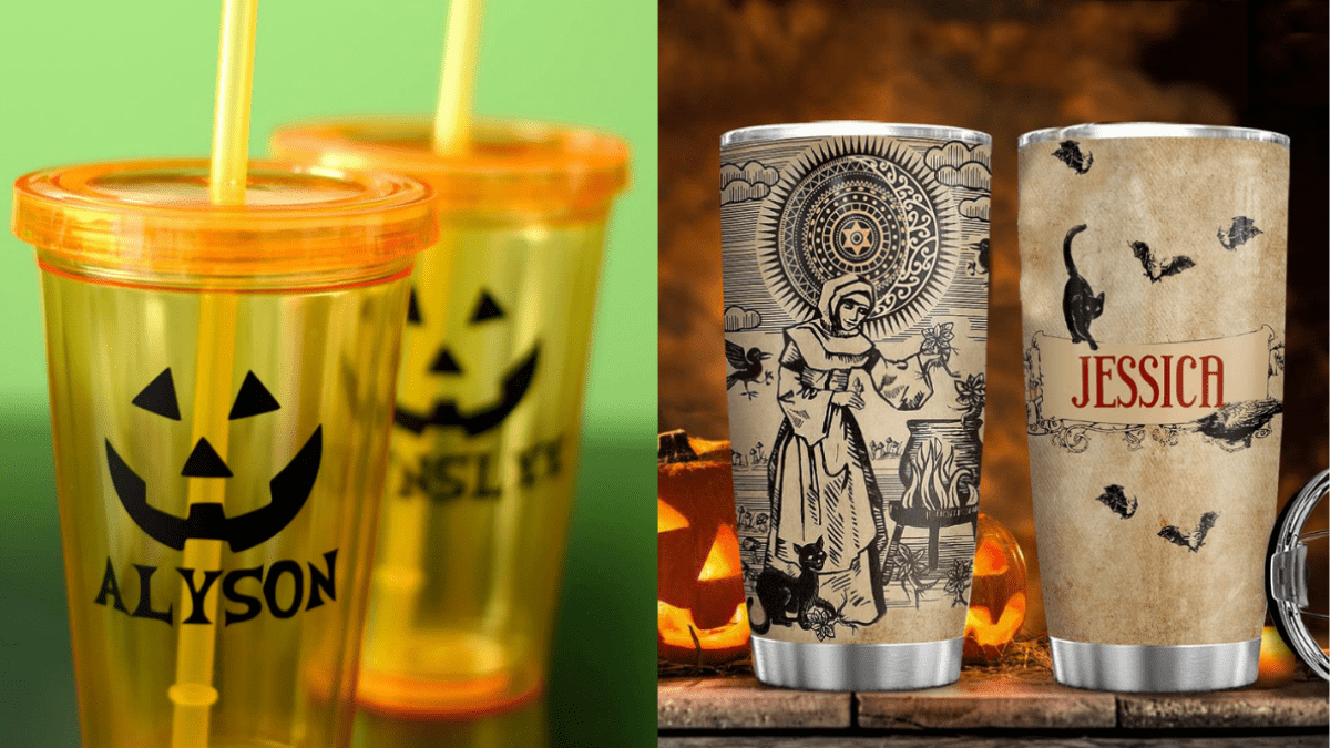 Halloween themed customized tumblers with Jack-o'-lantern faces and witches with cats brewing potions.
