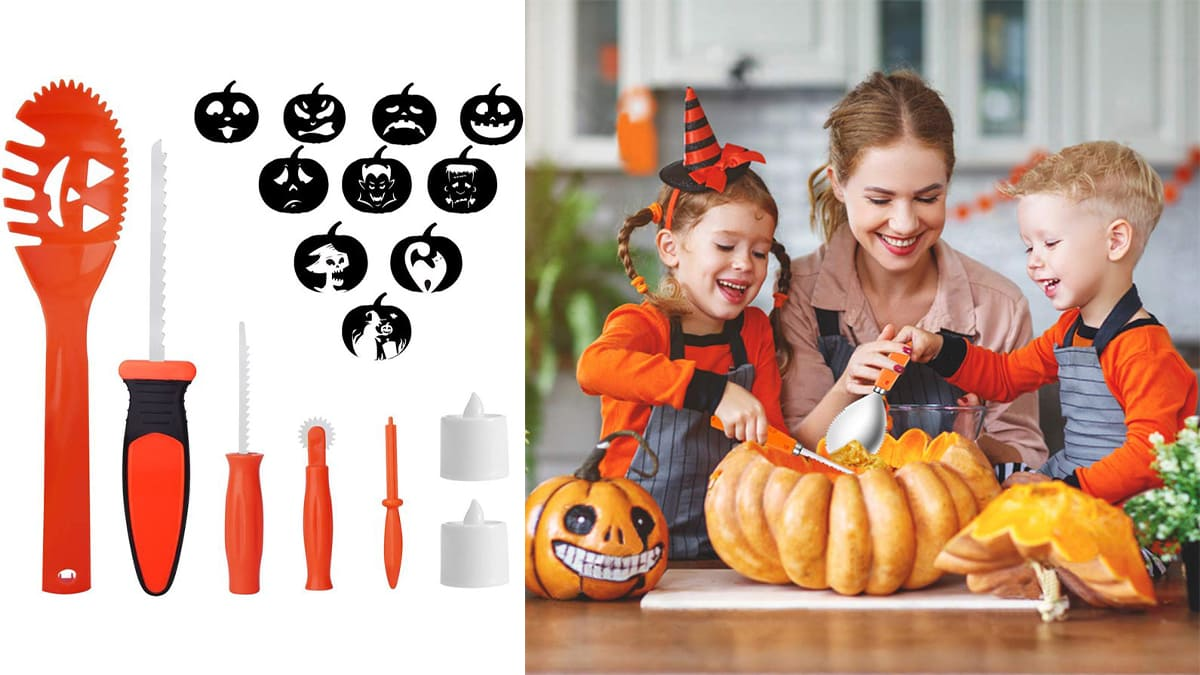 A black and orange plastic pumpkin carving set on the left as a Halloween gift for kids. A mother and her 2 kids carving a pumpkin with the carving set on their dinning table.