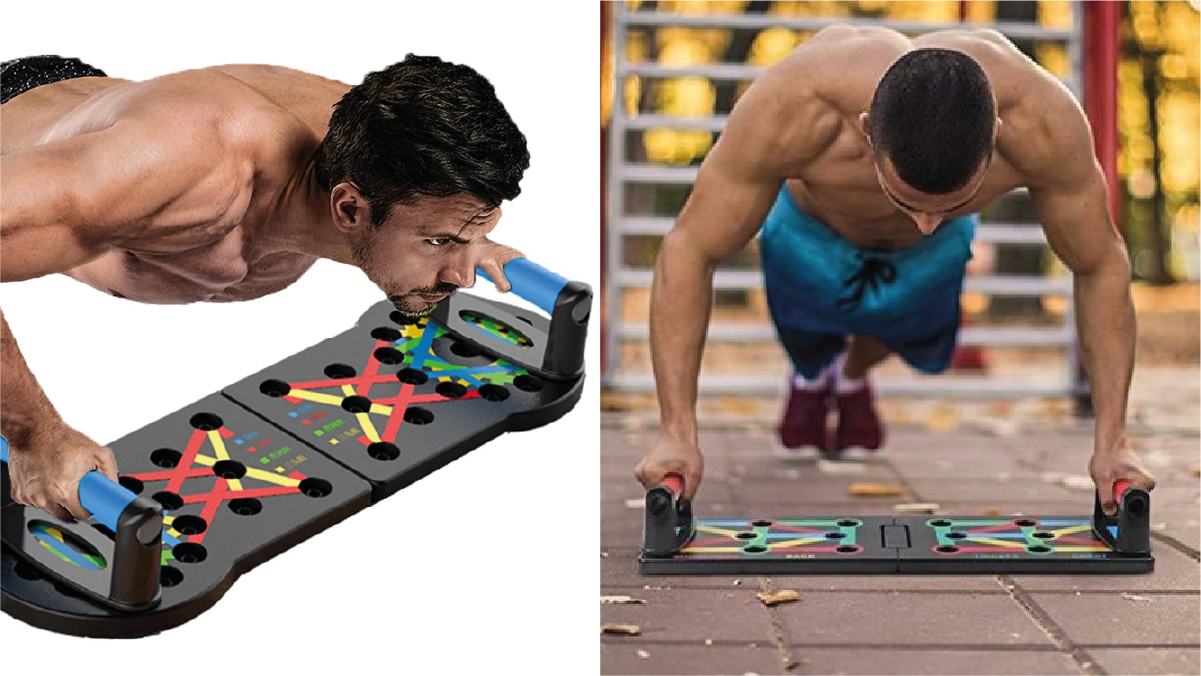 man using Push up trainer for pushups.