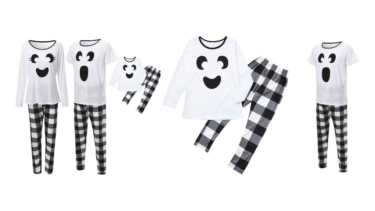 A set of ghost jammies with checkered pants and ghost faced shirts.