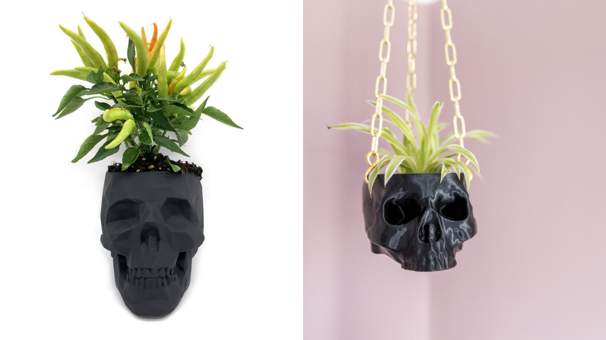 Skull shaped pots with little plants in them. one is on a white background and one is hanging in the corner of a pink wall.