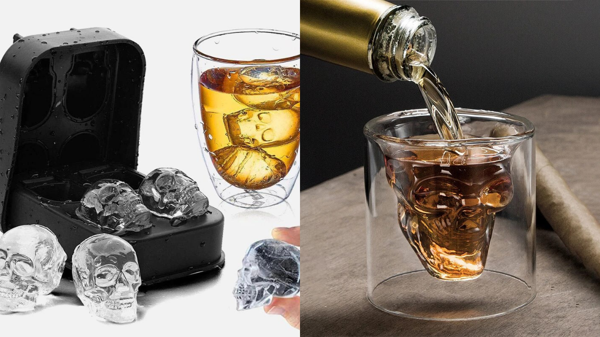 Whiskey glass molded in the shaped of a skull and whiskey being poured in it on the right. Ice molds in the shapes of skulls and skull shaped ice cubes on the left, perfect Halloween gift ideas.