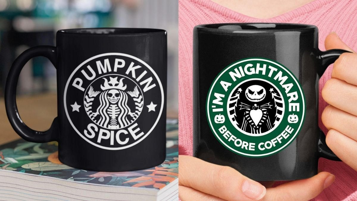 Black Starbucks mugs printed with Halloween themes of Jack-o'-lantern and witch can be great Halloween gifts.