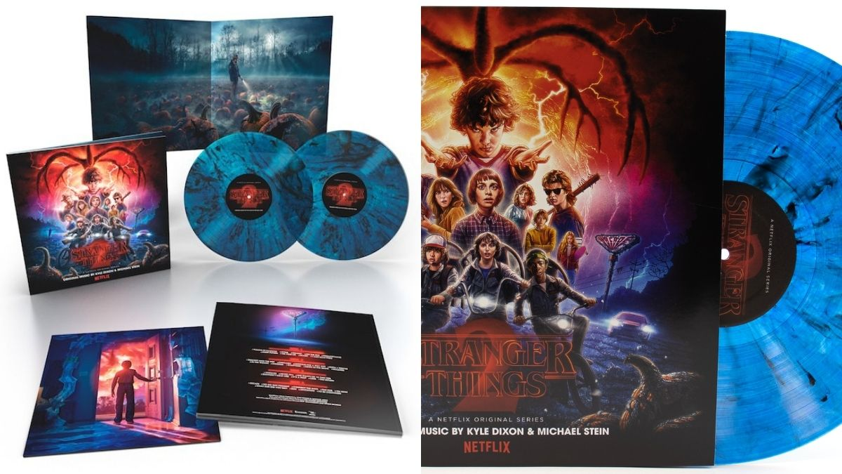 The limited edition Soundtrack of stranger things on a blue splattered vinyl as a Halloween gift