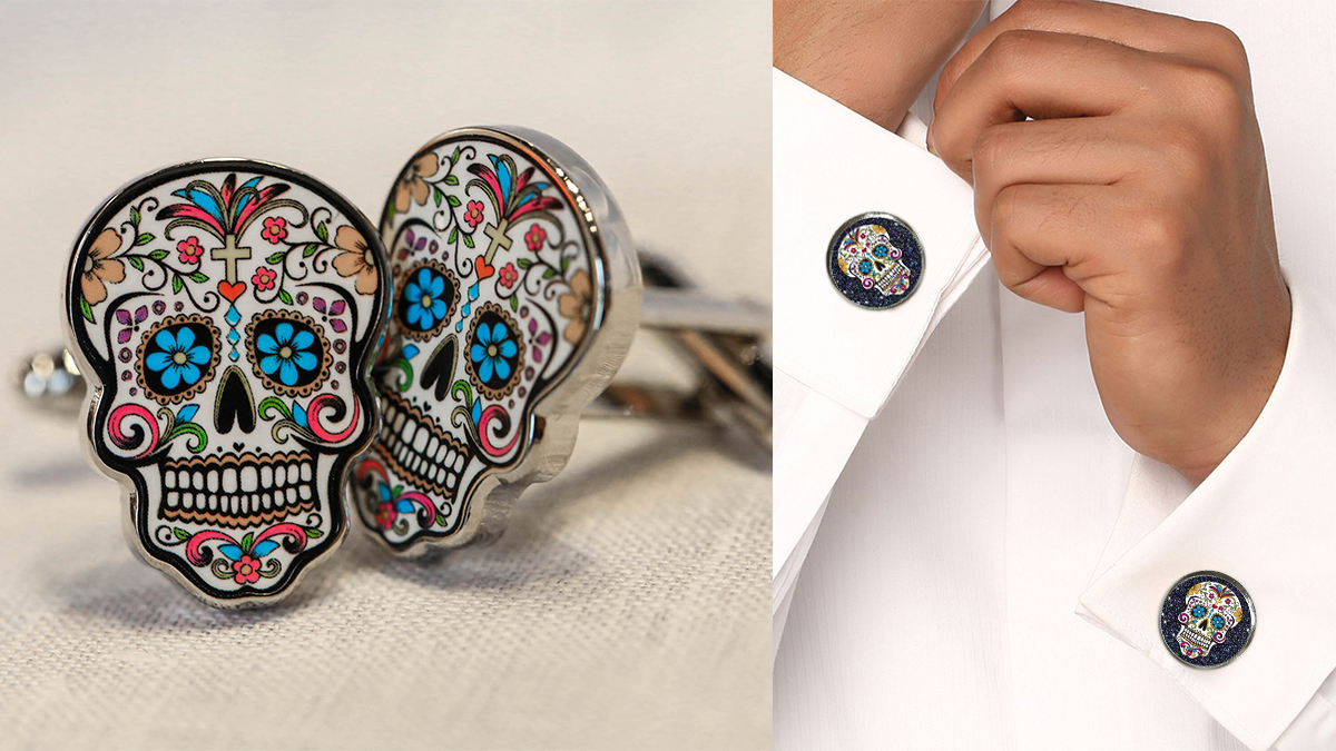 Sugar skull cufflinks and sugar skull cufflinks on a man's cuffs on the right.