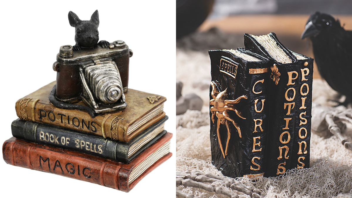 A stack of potion books with a bunny rabbit sitting on top of them with a camera as a spooky tabletop on the left. A pair of 3 books in the form of a witch's potions books displayed on a table as a Halloween décor on the right.
