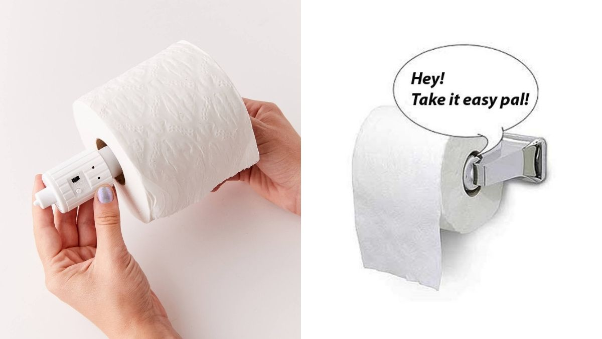 A lady's hands holding the white talking toilet paper roll dispenser inside a toilet paper roll. The wall mounted toilet paper dispenser saying Hey! Take it easy pal.