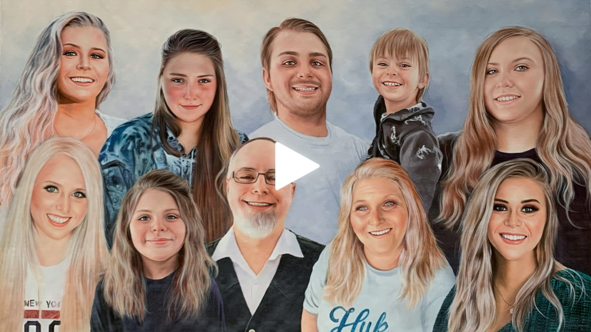thanksgiving gift for family: a compilation oil portrait made by portraitflip