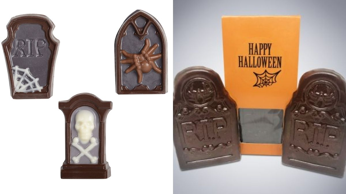 Chocolates in the shape of tombstones given as gifts for halloween.