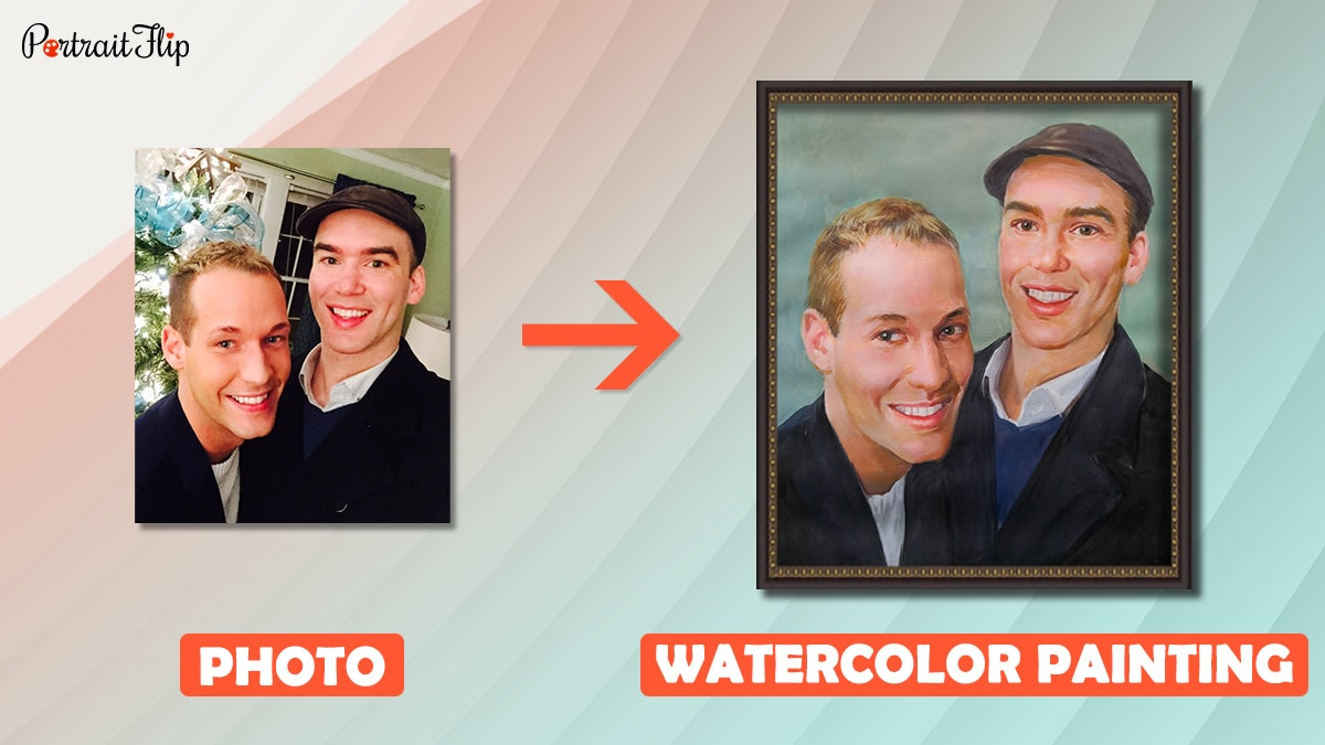 A photo of two male best friends is turned into watercolor painting by portraitflip artists.