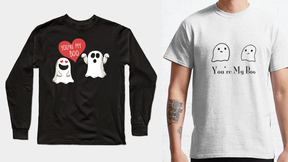 A pair of plain black and white graphic t-shirt printed with you're my boo.