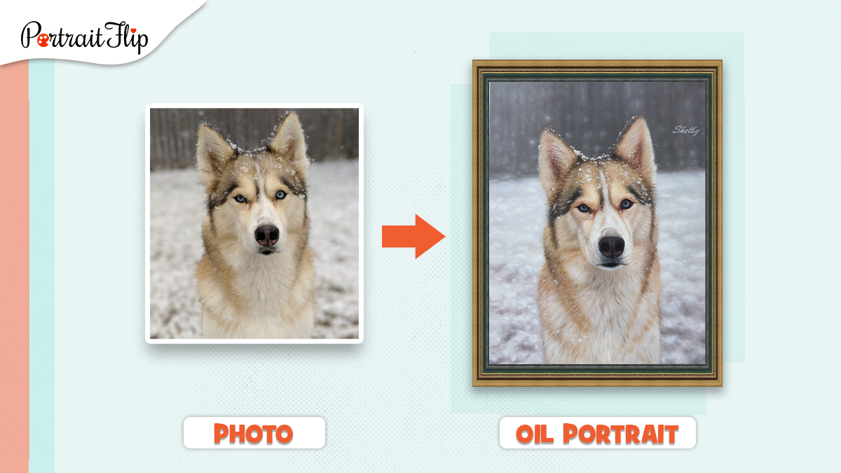 A photo of a dog painted and framed by PortraitFlip