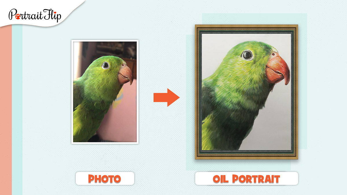 A painting of a bird (green parrot) made from a a photo by PortraitFlip.