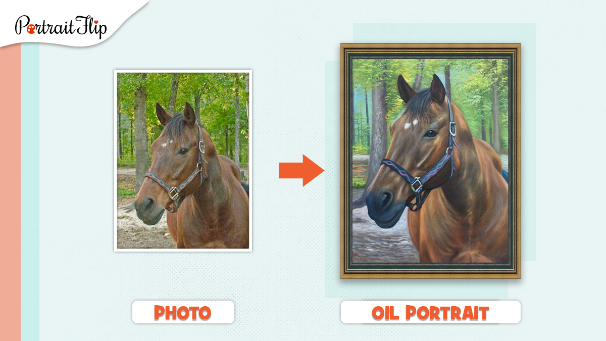A portrait painting of a horse made from a photo by PortraitFlip.