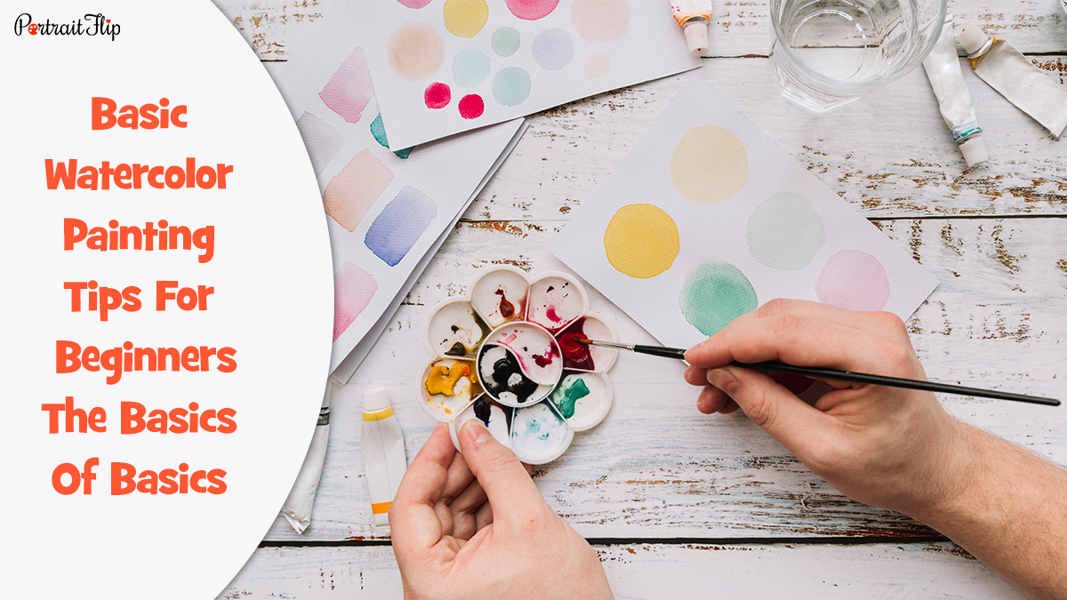 Watercolor painting tips: a guy mixing watercolors in a palette.