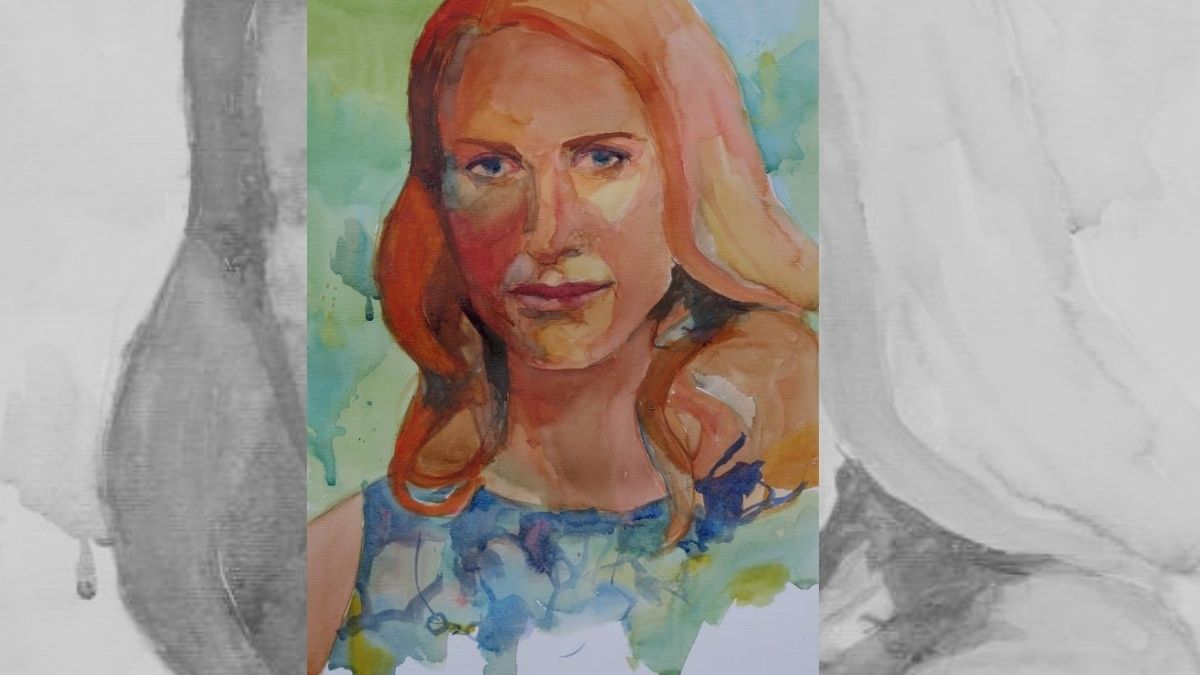 a watercolor portrait of woman that is overworked.