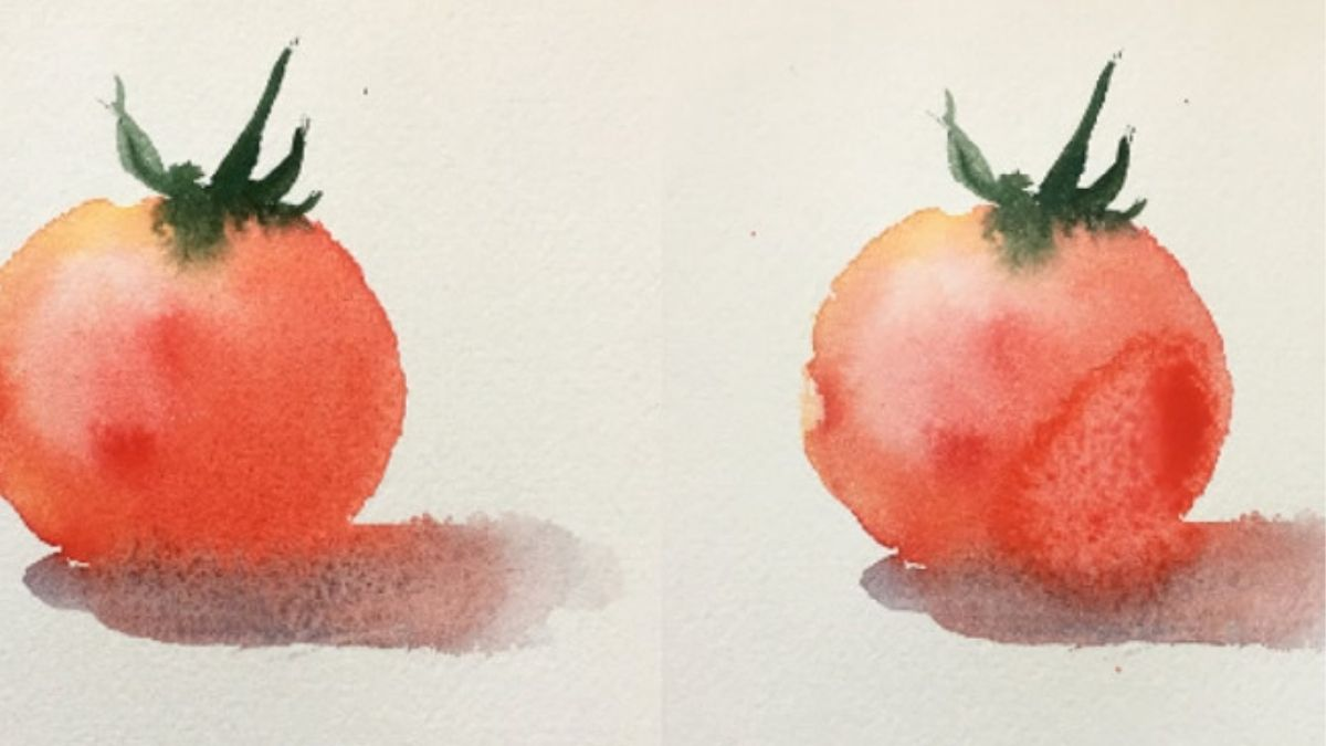 On the left: a watercolor painting of tomato. On the right: a watercolor painting of tomato that is a little bit flawed.