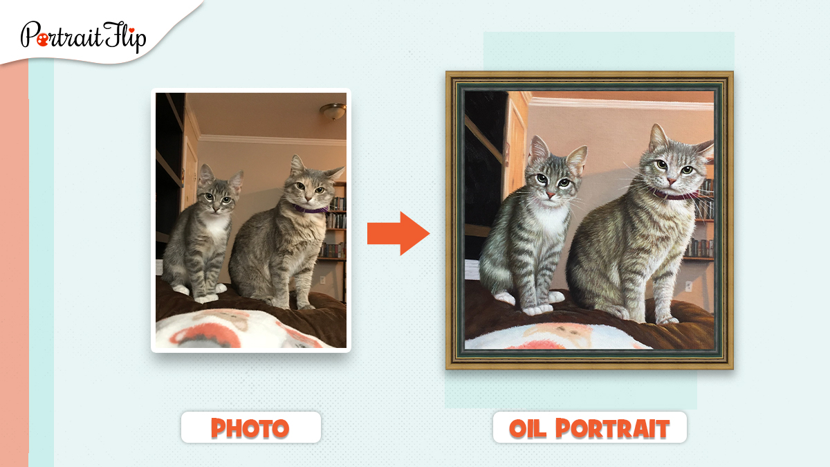 A painting of two cats made from a photo by PortraitFlip