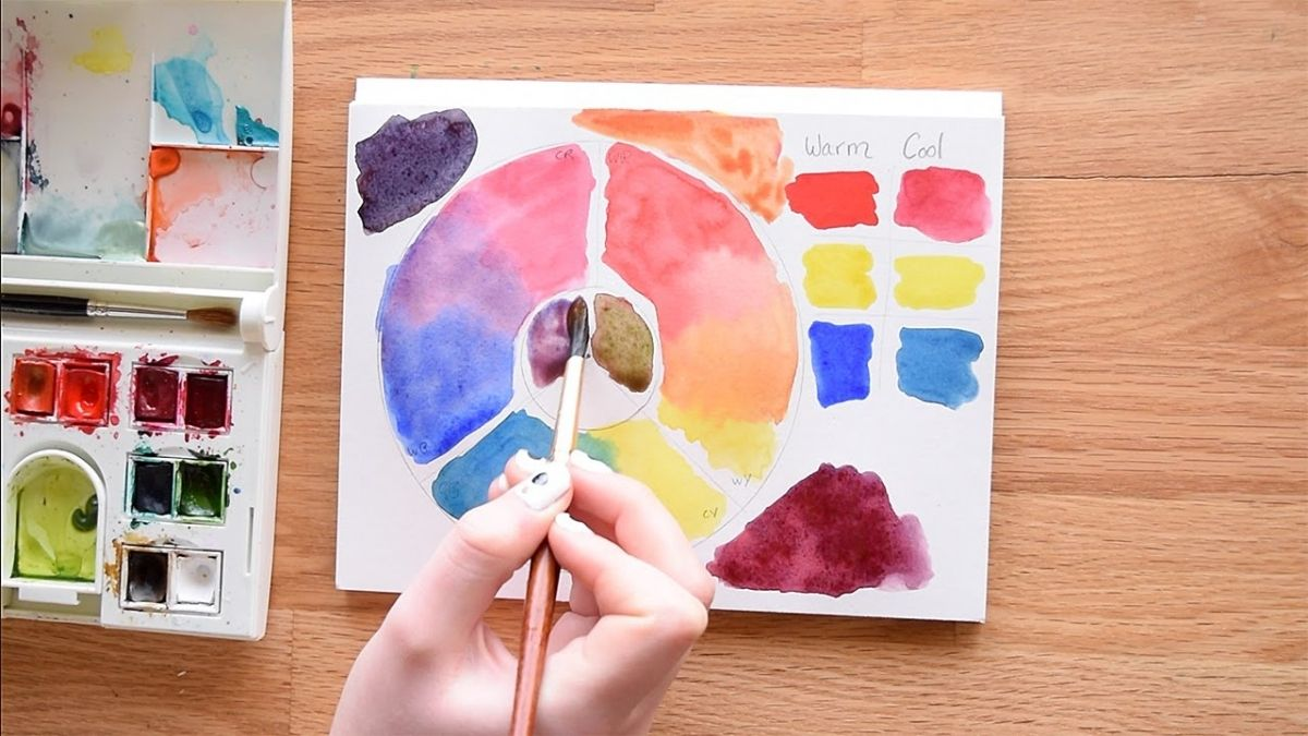 A hand holding a paint brush against a watercolor painting that has a color wheel.