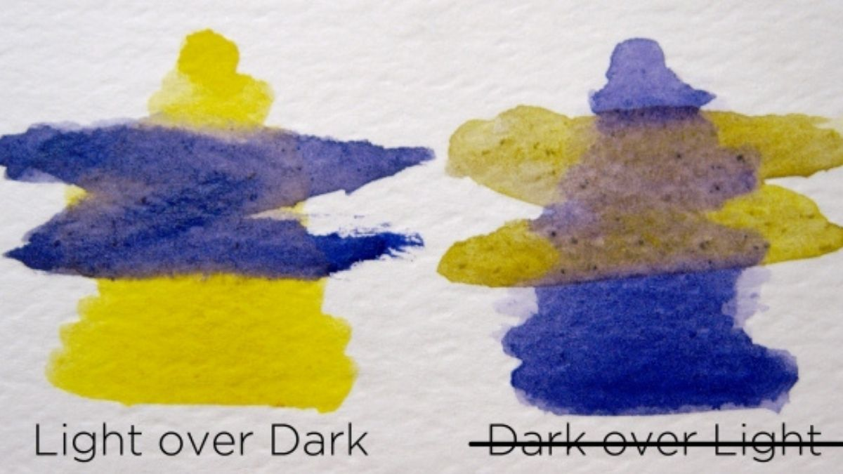 a painting showing how watercolor looks when painted from light to dark and from dark to light.