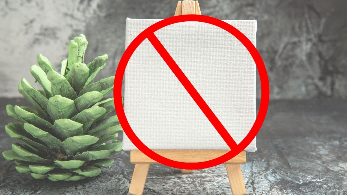watercolor painting tips: A warning sign on a canvas which implies that never you should never use canvas for watercolor painting.
