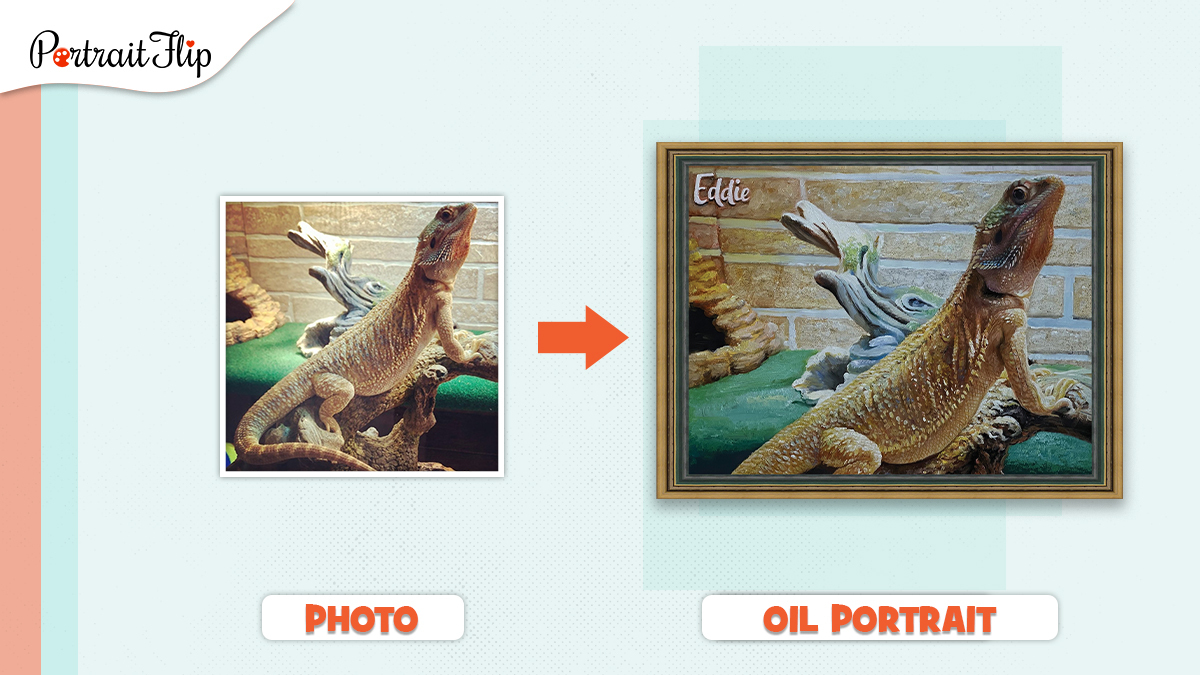 Oil Painting of a pet lizard made from a photo by portraitFlip.